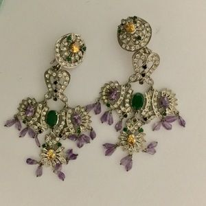 Bollywood Style Sterling Silver Gems Earrings